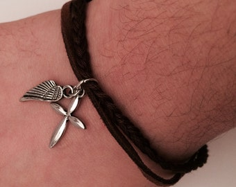 Cross and Wing Braided Double Strand Bracelet