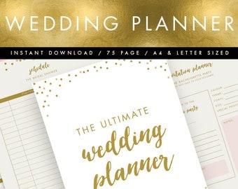 Printable Wedding Planner INSTANT DOWNLOAD Pink Gold Organiser DIY