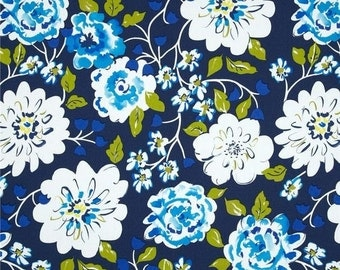 HOME DECOR SALE Sateen Fabric - Dena Designs Tea Garden Ying Ming in Navy - Home Decor Clearance - Sateen Fabric by the Yard