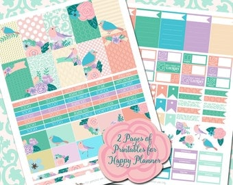 Birds and Blossoms - Printable Sticker Kit - MAMBI Happy Planner - PDF and JPEG - Instant Download - 2 Pages - Pastel Stickers