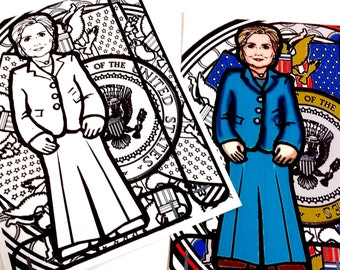 Hillary Clinton Printable Coloring Page Paper Doll with stand
