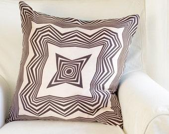 Vintage Scarf Throw Pillow - Black/White Mod Optic Print