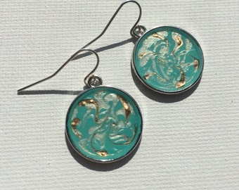 Hand-Painted, Resin Dangle Earrings~ One-Of-A-Kind