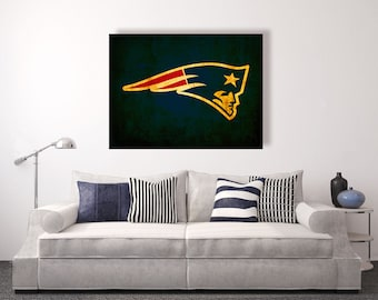 New England Patriots vintage style Canvas Print, vintage football decor, football room decor, room decor for men, apartment decorating ideas