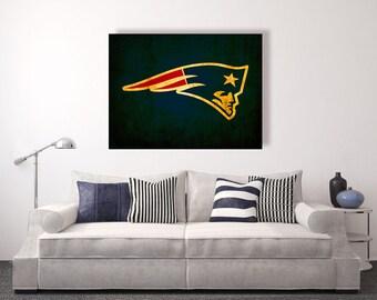 New England Patriots vintage style Canvas Print, vintage football decor, football room decor, room decor for men, apartment decorating ideas