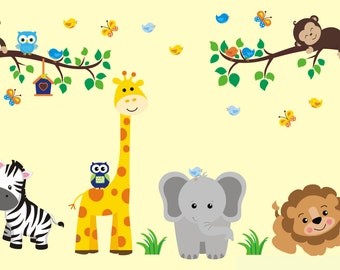 """Large Animal Decals - Safari Wall Decals - Nature Wall Decals - Animal Wall Decals - Nursery Inspiration - Nursery Styling - 60"""" x 88"""""""
