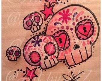 Sugar skull art  print poster