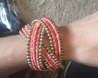 Coral beaded bracelet