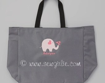 Adorable Monogrammed Elephant Tote