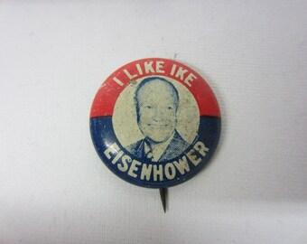 Genuine 1950's Eisenhower Political Button.