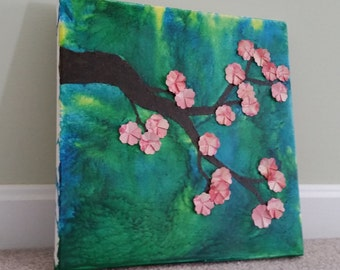 Sakura Branch mixed media canvas