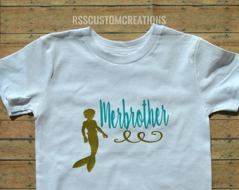 Merbrother Shirt, Mersister Shirt, Brother of a Mermaid, Sister of the Birthday Girl, Mermaid Birthday Family Shirts, Brother Birthday Tee