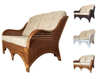 Rattan Lounge Sofa Loveseat model Karmen with Cushions Color Light Brown