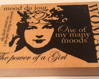 """Large size wood mounted rubber stamp """"woman"""""""