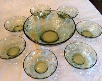 Vintage Bubble Glass Salad Set- Hazel Atlas Company