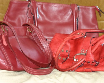 Genuine Red Leather handbags - 3 to choose from