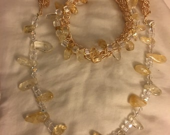 Wire and citrine stone necklace