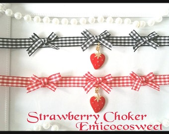 Cosplay Lolita Cute Kawaii Choker Handmade Strawberry Japanese Collar Necklace,Japanese necklaces,Strawberry necklaces,Kawaii Cute Choker