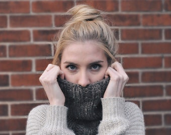Hand Knit Brown Wool Cowl