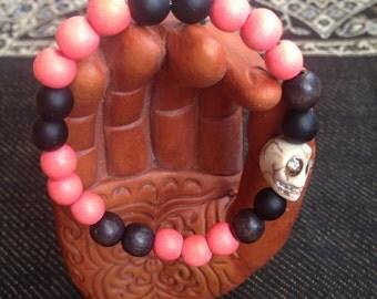 Pink Skull Stretch Bracelet