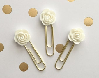 White Begonia Flower Cabochon Paperclip Plannerclip