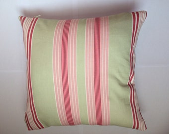 Pink and sage green striped cushion cover / pillow case - 16 inch- UK seller