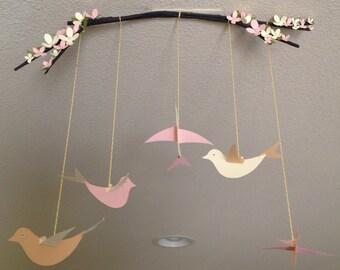 5birds hanging decorative / Birds hanging branch /mobile birds hanging decorative