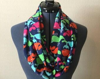 Thin Width Whale Infinity Scarf / Skinny Scarf / Infinity Scarf / Whale Scarf / Animal Print / Flannel / Pink / Orange / Blue / Green