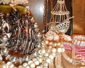 Pirates Treasure Chest of Pearl Necklaces & Other Jewelry Delights