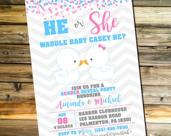 Waddle It Be Gender Reveal Invitation | Waddle It Be Gender Reveal Party | Party Prints Co.
