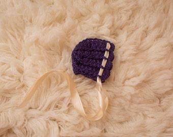 Crochet Newborn Blue Bonnet