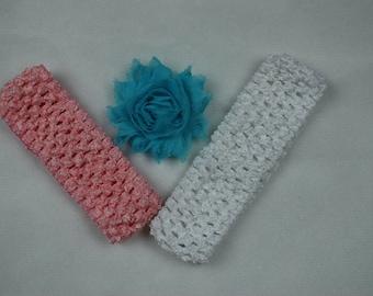 2 Crochet Headbands with 1 Interchangeable Shabby Flower Clip