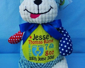 Personalised Harlequin Dog Cubbie Stuffie Bear, Personalised Gift, Birth, Christening, Any Occasion, Any Name/Message