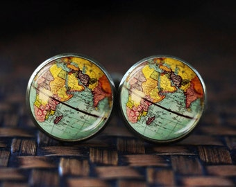 World Map Globe cufflinks, Earth cufflinks, Earth Jewelry, Globe cufflinks, Map cufflinks, vintage globe cufflinks, Antique Map cufflinks