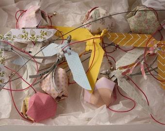 Mobile suspension birds origami paper - RAINBOW
