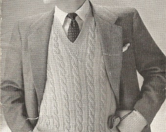"Vintage Knitting Pattern Man's Cabled Pullover 3 Ply 1940's 36-40"" PDF Instant Download"