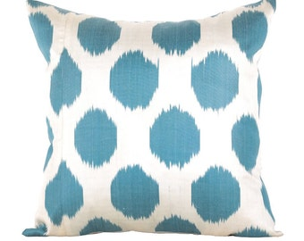 18x18 Blue polka dot Traditional Handmade Fabric Ikat Pillow Cover – Decorative Pillow