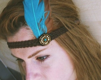 Boho Feather Headband, Hippie headdress,Festival accessories hippie boho hipster braided indian hair jewelry, hair feathers extensions