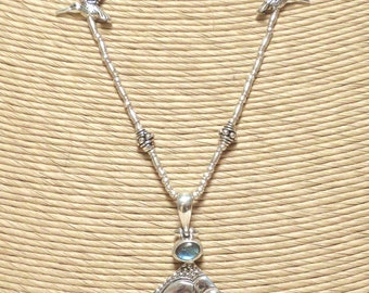 Balinese 'Buddha' Pendant Necklace with Labradorite, Cultured Freshwater Pearls and .925 Sterling Silver.