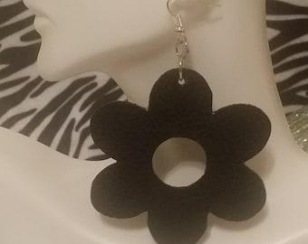 Medium black leather flower earrings