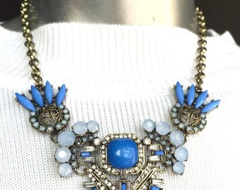 Chunky Bronze Blue Stones Crystals Necklace