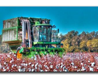 John Deere Combine, Farm, Cotton Field, SC, Countryside, South Carolina Living