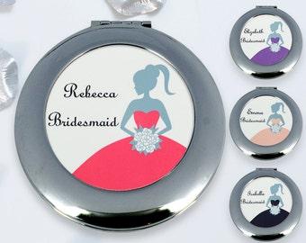 compact mirror, bridesmaid compact mirror, compact mirror custom gift