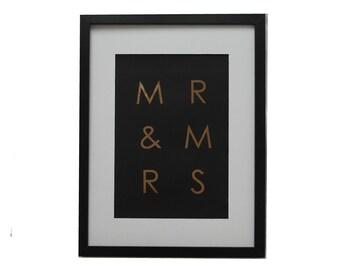 Wedding anniversary gift - Mr & Mrs copper print