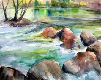 Watercolor Giclee Print; Landscape; Water; River; Nature; California; Wall Art Free Shipping