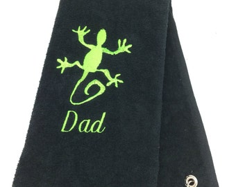 Personalized Embroidered Golf Towel  Gecko Green Lizard