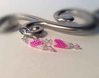 Bead Still My Heart Earrings - Raspberry Pink