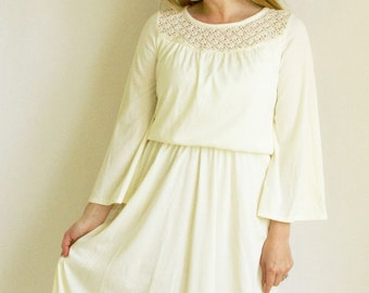 Boho Ivory Dress // Bell Sleeves // Carol Craig
