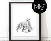 INSTANT DOWNLOAD Modern Silver Nursery Print, silver Dinosaur Print, Baby room print, Minimalistic silver dinosaur print  - Triceratops
