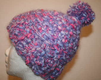 Crochet blue and Pink Hat and her Pompom